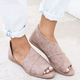 Plus Size Peep Toe Flats Loafers Side Cut-out Slip On Shoes