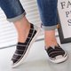 Canvas Stripe Elastic Band Flats  Loafers