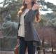 Gray Long Sleeve Solid Coat
