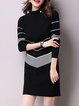 Women Daily Long Sleeve Casual Zipper Striped Casual Dress