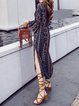 Blue Women Print Dress V neck Holiday Bell Sleeve Tribal Dress