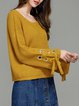 Yellow Casual Off Shoulder Lace Up Sweater