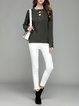 Lace Up H-line Long Sleeve Casual V Neck Sweater