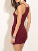 Red Halter Sleeveless Ruched Solid Dress