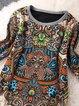 Women Vintage Long Sleeve Printed Tribal Casual Dress