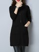 Solid Long Sleeve Knitted Crew Neck Dress
