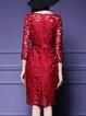 Red Floral 3/4 Sleeve Sheath Elegant Dress