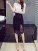 Black Paneled Buttoned Casual Solid Lace Slit Plus Size Skirt