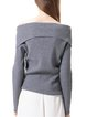 Off Shoulder Solid Sheath Long Sleeve Sweater