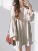 V neck  Shift Women Cotton Long Sleeve Knitted Solid Casual Dress