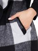Casual Checkered/Plaid Polyester Shawl Collar Long Sleeve Coat