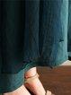 Dark Green Embroidered A-line Short Sleeve Vintage Dress