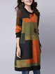 Orange Shift Women Daytime Cotton Casual Color-block  Casual Dress