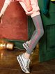 Black Cotton-blend Printed Casual Letter Legging