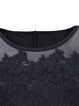 Black Crew Neck Plain Short Sleeve Zipper Appliqued Dress