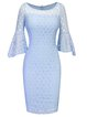 Light Blue Bell Sleeve Lace Vintage Dress