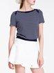 Blue Stripes Short Sleeve Bateau Neck Crop Top