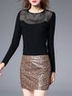 Black Long Sleeve Sheath Crop Top