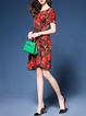 Red Women Daytime Casual Short Sleeve Floral Elegant Dress