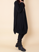 Black Cotton Long Sleeve Crew Neck Cocoon Casual Dress