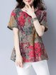 Red Casual Linen Printed Abstract Crew Neck T-Shirt