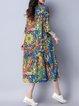Blue H-line Graphic Casual Print Dress