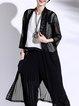 Black See-through Look 3/4 Sleeve Solid Coat