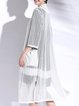 White 3/4 Sleeve See-through Look Coat
