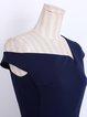 Navy Blue Short Sleeve Cotton Asymmetric Bodycon Party Dress