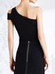 Black Plain One Shoulder Cotton Sexy Tank Top