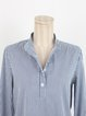 Blue Cotton Stripes Stand Collar Blouse