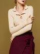 Shirt Collar Buttoned Long Sleeve Sweater