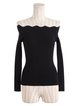 Black Long Sleeve Off Shoulder Cotton-blend Sweater