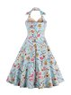 Floral Paneled Halter Vintage Sleeveless Dress