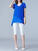 Blue Casual Crew Neck Asymmetric Chiffon Plus Size Tunic