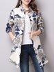Multicolor Floral Long Sleeve Pockets Shirt Collar Shirt