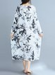 White Shift Women Daily Casual Long Sleeve Pockets Floral Casual Dress