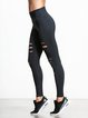 Black Sheath Cutout Solid Sports Leggings
