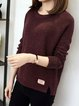 Burgundy Long Sleeve Crew Neck Knitted Sweater