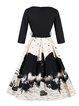 Black Printed 3/4 Sleeve V Neck Swing  Dress