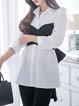 White Bow Paneled Shirt Collar Long Sleeve Blouse