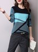Long Sleeve Color-block Crew Neck Knitted Sweater