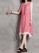 Peach Women Casual Dress Crew Neck Daytime Sleeveless Casual Dress