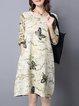 Yellow Animal Printed Crew Neck Long Sleeve Casual Dress