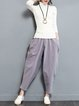 Gray Simple Linen Pockets Harem Pants