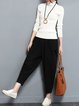 Simple Black Linen Pockets Harem Pants