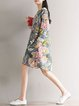 Multicolor Women Print Dress Crew Neck Daily Long Sleeve Floral Dress