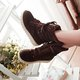 Suede Lace Up Women Mid-Calf Boots