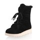 Lace Up Mid-Calf Suede Women Boots