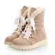 Lace Up Suede Women Mid-Calf Boots